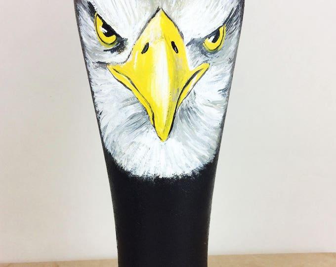 Pilsner Glasses, Eagle Pilsner glass, Custom Beer glass, Beer gift, Beer glass, Craft beer, Hand painted Pilsner glass, Bald Eagle, Eagles
