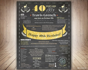 40th Birthday Poster for Him 1978, 40th Birthday gift for him,Chalkboard 40th Birthday Sign,Personalized 1978 Birthday Sign USA,40 Years ago