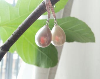 Bridal Earrings with Large Drop Shaped Pearls