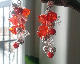 Earrings with Red Flowers