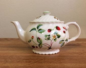 Vintage James Kent England Old Foley Strawberry Butterflies Small Teapot Staffordshire Midcentury