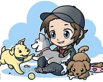 Bucky chibi and pups
