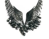 Angel Wings Necklace, Eagle Wings, Steampunk, Fringe, Trendy,  Modern Design, Elegant, Gothic, Beaded, Chunky Statement necklace, Gunmetal