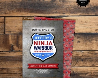 American Ninja Warrior Birthday Invitation (Digital File or Prints with Envelopes) (FREE Shipping) (ALL Wording can be changed)