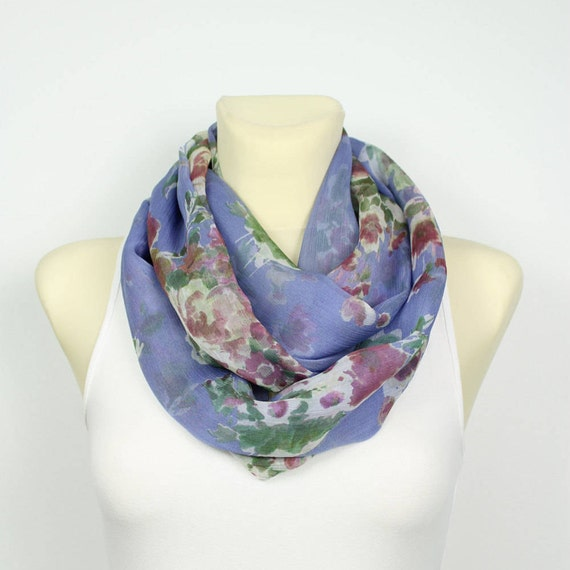 Silk Chiffon Scarf Blue Floral Scarf Unique Boho Scarf Silk Infinity Scarf Gift Women Summer Outdoors Summer Party Personalized Gift Womens