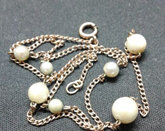 12k yellow gold filled necklace with 7 real pearls from the 50's
