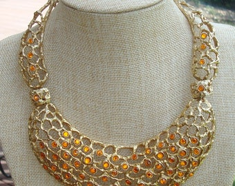 Vintage Cadoro Brutalist Amber Crystal  Rhinestones Openwork Goldtone Statement Necklace Choker Modernist Necklace