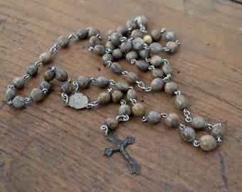 Old rosary, vintage rosary, job's tears rosary, Italian rosary, wooden rosary, brown rosary, job's tears, catholic rosary, christian rosary