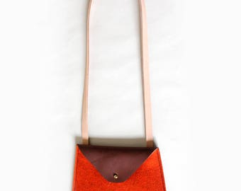 Tomato Felt & Leather Crossbody Bag