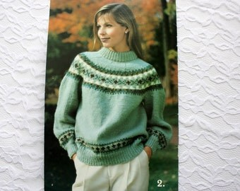 Patons 698 Country Knits, Fair isle Sweater, Cable Sweater, Snowflake Cardigan, Nordic Sweater