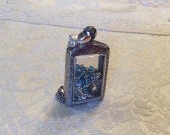 Aqua Bead Sterling Silver Rosary w/ Pretty Silver Locket Case Box Pendant Necklace