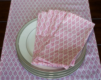 pink napkins/ cotton napkins/ Hand printed napkins/ dinner napkins/ cloth napkins/ birthday party napkins/ table napkins/ tablecloths