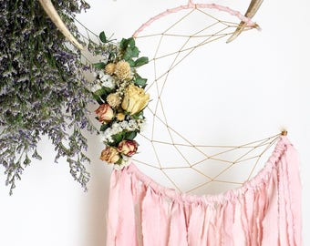 Pink Moon Dream Catcher with Dried Flowers