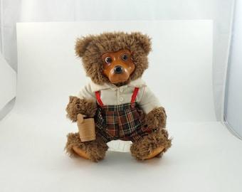 Vintage 90s Robert Raikes Bear Doll, Wooden Face, Scruffy Teddy Bear, Teddy Bear Plush, Stuffed Teddy Bear, Bear Gift, Applause Bear