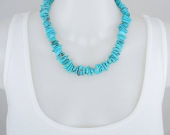 Sleeping Beauty Turquoise Nugget Necklace, Genuine AA Turquoise, Bead Necklace, Chunky Turquoise, Sterling Clasp