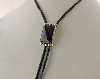 """36"""" Black Leather Bolo Tie With Sterling Silver And Black Onyx Slide"""
