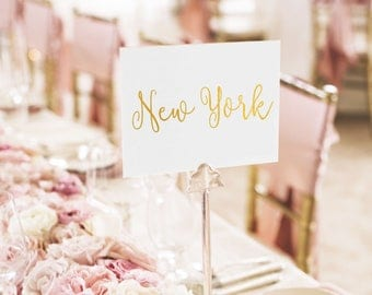 Notulen Gold Foil Table Names - Custom Table Names - 2-Sided - Wedding Table Names with Gold / Silver / Rose Gold Foil by Pineapple #TN1001