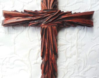 Large Rustic Cedar Hand Carved Wood Wall Cross.  Unique Wall Art  designed by Ches Gonzales.
