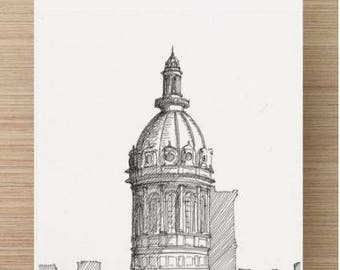 Ink sketch of Baltimore City Hall - Drawing, Art, Government, Dome, Cupola, Architecture, Maryland, Neo Classical, Pen and Ink, 5x7, 8x10