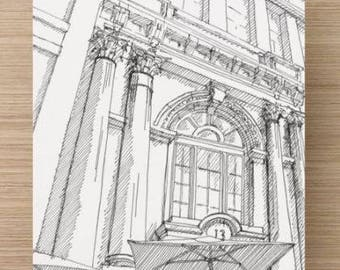 Ink sketch of facade details at One South Street - Drawing, Art, Architecture, Columns, Corinthian, Arch, Pen and Ink, 5x7, 8x10, Print