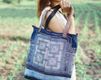 One of a Kind Vintage Embroidered Tote Bag with Leather Strap from Thailand, Ethnic Tote for Women in Blue - 0000-000-0000