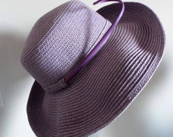 Vintage Hat Ladies  1970's Lilac Bucket or Upturned Brim Hat with matching bone quill feather excellent