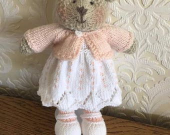 Hand Knitted Bear with Cardigan