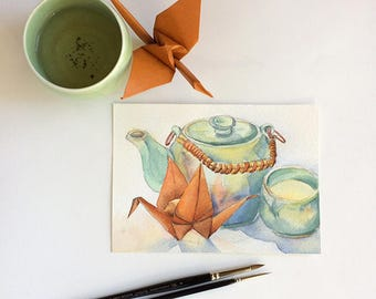 Green tea for one (origami crane painting no 15) - original painting - watercolour on paper 5x7 inches