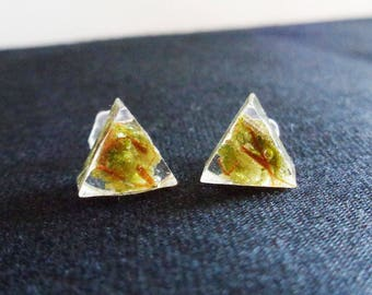 Cannabis Earrings-Open Triangle Stud Earrings-Real Weed Earrings-Weed Jewelry-Weed Stud Earrings-Cannabis Jewelry-Gifts for Stoners-