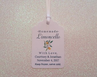 "Limoncello Tags *Wedding Favor Tags *Wedding Homemade Limoncello *Thank You Favor Tags *Engagement Tag *2.25"" *Personalized"