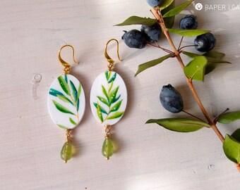 Botanical oval dangle earrings PHILLYREA, hand painted earrings, lighweight earrings in botanical style, eco friendly dangle earrings