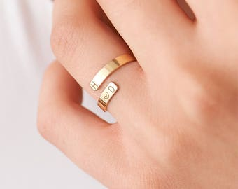 Personalized Name Ring • Custom Name • Custom Initial Ring • Kids Name • Gold Letter Ring • Wrap Ring •  Gift for Her • Mom Ring