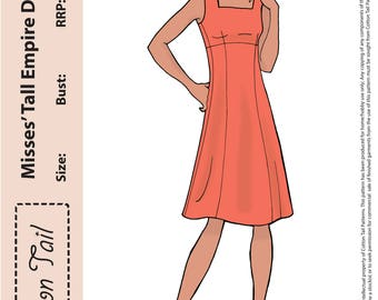 70's inspired PDF Sewing Pattern Cotton Tail 1601 Misses' Tall EMPIRE DRESS Bust 76cm-112cm