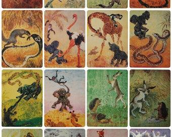 Fairy Tales of the Peoples of the World - Illustrator G. Glickman -- Set of 15 Vintage Soviet Postcards, 1988. Mongoose Cobra Animals Print