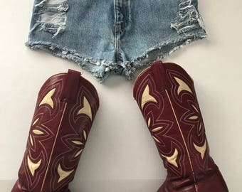 High Waisted Levis, Destroyed Denim Shorts, Destroyed Levis, Levi Cutoffs, Distressed Shorts, Size 24 waist, Ready to Ship
