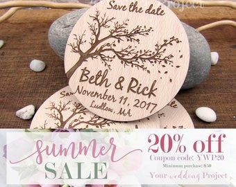 SALE 20% OFF - Tree Save the Date Magnet, Custom Engraved Save the Date, Wood Save the Date, Rustic Save the Date, Wedding Invitations