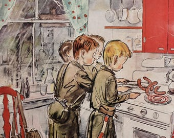 1945 Boy Scouts Cooking Hot Dogs on the Stove - Perry Barlow Art - Collier's Magazine Cover - 1940's Calvert Reserve Ad - Actor Ian Hunter