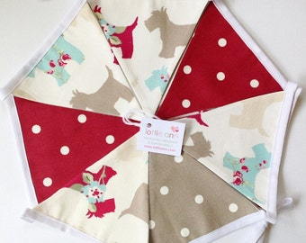Bunting, Scotties Bunting, Red Dotty Bunting, Dogs Bunting, Fabric Bunting, Lined Bunting, Nursery, Children, Dogs, Red Dotty, Westies