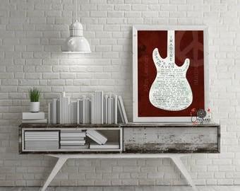 JOHN LENNON Imagine Lyrics-Lyrics print-Beatles Artistic Electric Guitar Classic Rock Retro Music wall art Gift for him - Code GTWHWNE