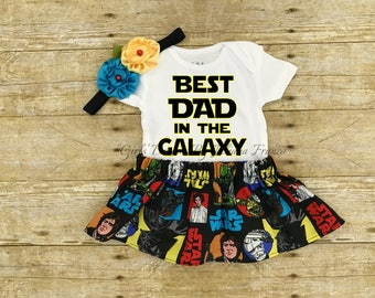 Fathers Day Onesie, Baby Girl Onesie, First Fathers Day Onesie, Star Wars Onesie, Star Wars outfit, First Fathers Day Onesie Set,Fathers Day