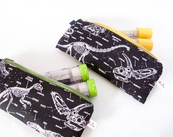 Epipen Case. GLOW -in-the-DARK. Dinosaur Pouch. Allergy Pouch. Kid Allergy Gift.INSULATED Epipen Bag.Medical Bag. School Epipen Carrier
