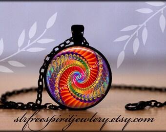 Fractal Art Bracelet, Colorful Accessory, Digital Art Jewelry, Unique, Photo Image Jewelry, Glass Jewelry, Cabochon Necklaces, Trending