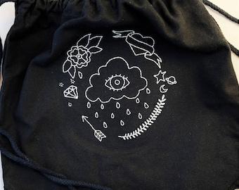Flash Tattoo Doodle Monochrome Black Drawstring Bag