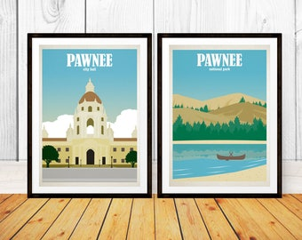 Pawnee Travel Poster Set - Pawnee National Park - Pawnee City Hall - Prints - Travel Poster Prints - Parks and Recreation - Parks and Rec
