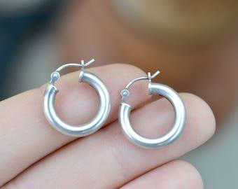 Round Sterling Silver Hoop Earrings, Simple Sterling Hoops, Small Sterling Hoop Earrings, Round Hoop Earrings, Small Sterling Silver Hoops
