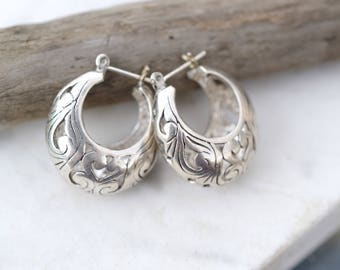 Sterling Silver Filigree Hoop Earrings, Puffy Sterling Silver Hoops, Filigree Sterling Jewelry, Basket Hoop Earrings, Wide Sterling Hoops