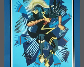 "Richard Red Owl ""Spider Dancer"" Native American Giclee Print Vintage Art Limited Edition 193/200 Signed 20 x 26"