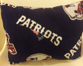 New England Patriots pillow for Tailgate party, Man Cave, Birthday, Valentines Day. NFL Patriots, Red White Blue fleece by Vintage Angel