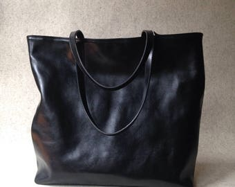 Large Top Zip Black Leather Tote - LEA Handmade Black Leather Tote Bag - Black Leather Bag - Large Leather Bag