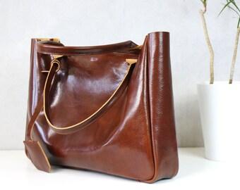 Brown Leather Tote Bag – BELLA Cognac Brown - Medium Size Handmade Leather Tote - Brown Leather Bag - Leather Travel Tote - Travel Bag